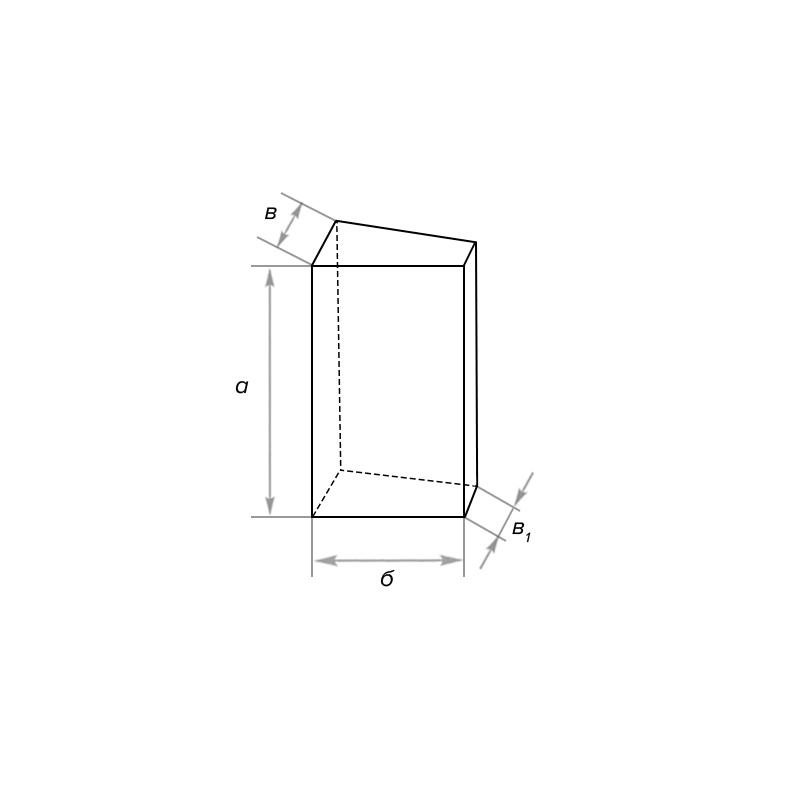 Кирпич периклазовый ребровой двухсторонний клин