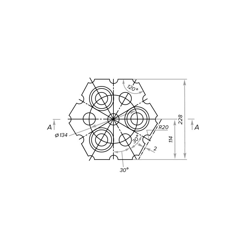 Кирпич насадочный шестигранный корундовый муллитокорундовый МКВ-72